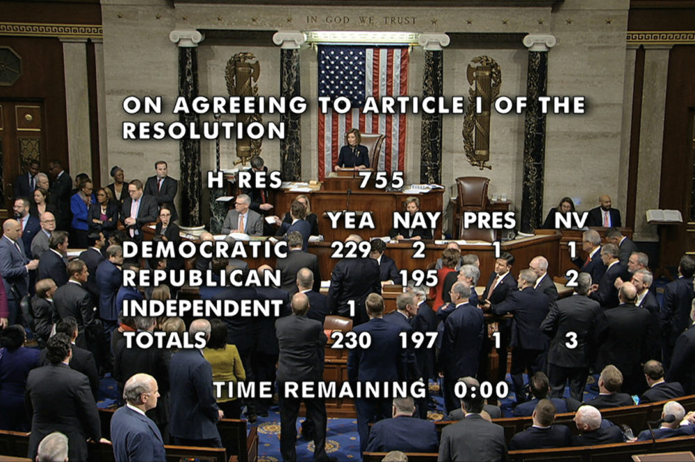 The vote total showing the the passage of the first article of impeachment, abuse of power, against President Donald Trump by the House of Representatives at the Capitol in Washington, Wednesday, Dec. 18, 2019. (House Television via AP)