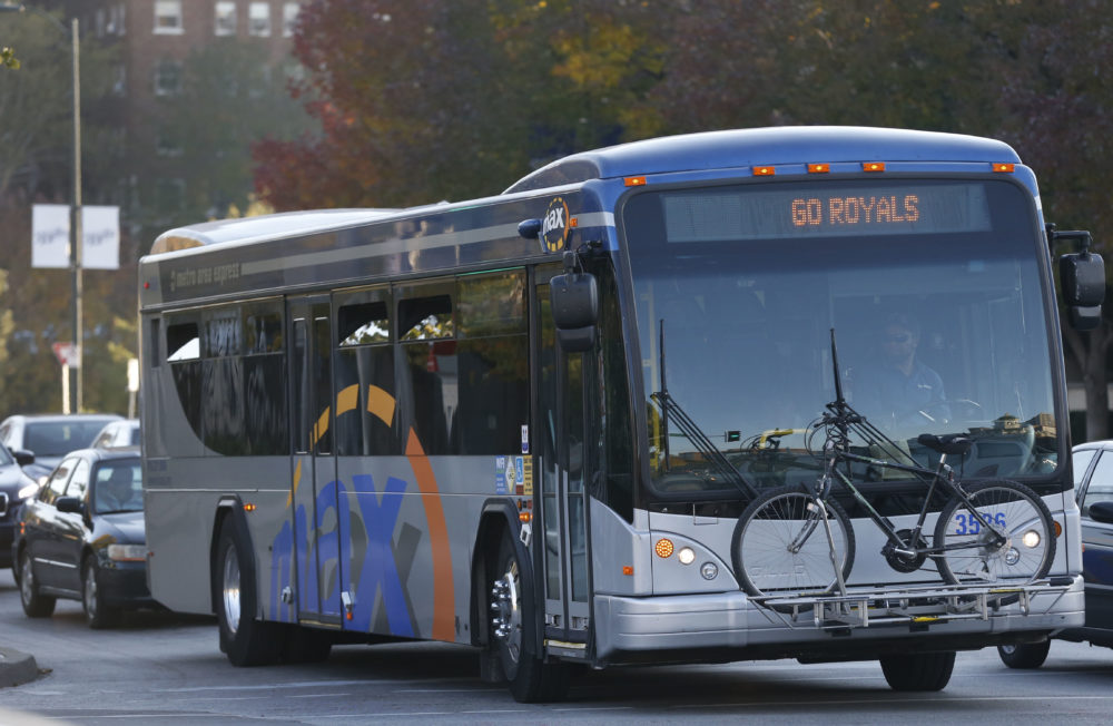 A metro express bus in Kansas City, Missouri. (Orlin Wagner/AP)