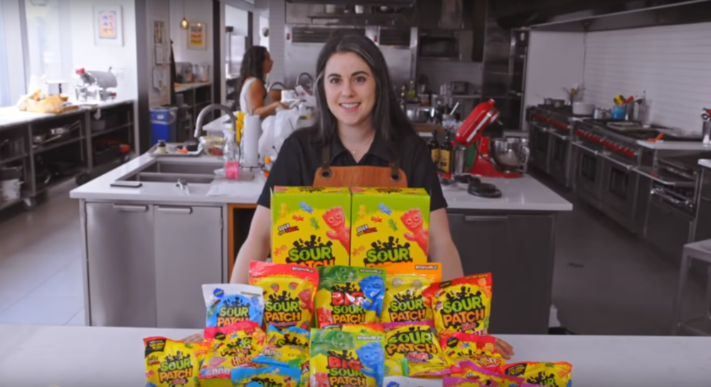 Claire Saffitz prepares to make Sour Patch Kids. (YouTube)