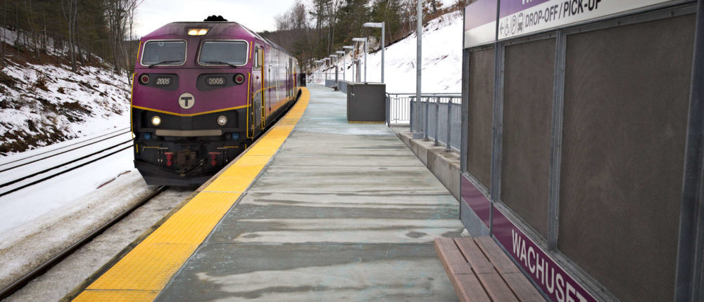 A commuter rail train is shown at the Wachusett station. (Courtesy of MBTA)