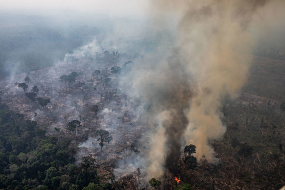 In this aerial image, a fire burns in a section of the Amazon rain forest on August 25, 2019, in the Candeias do Jamari region near Porto Velho, Brazil. (Victor Moriyama/Getty Images)