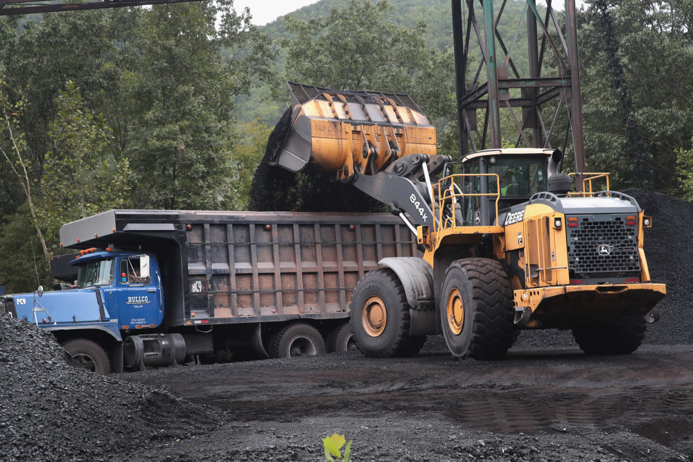 A truck is loaded with coal at a mine on Aug. 26, 2019 near Cumberland, Kentucky. (Scott Olson/Getty Images)