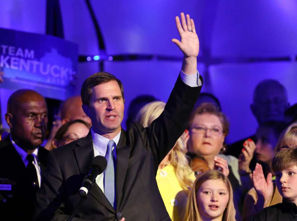 Democrat Andy Beshear celebrates with supporters after voting results showed he held a slim lead over Republican Gov. Matt Bevin at C2 Event Venue on November 5, 2019 in Louisville, Kentucky. (John Sommers II/Getty Images)
