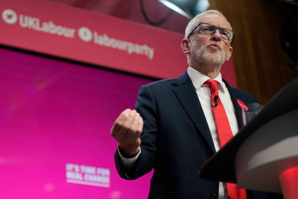Labour leader Jeremy Corbyn speaks during the launch of the party's election manifesto at Birmingham City University on November 21, 2019. (Christopher Furlong/Getty Images)