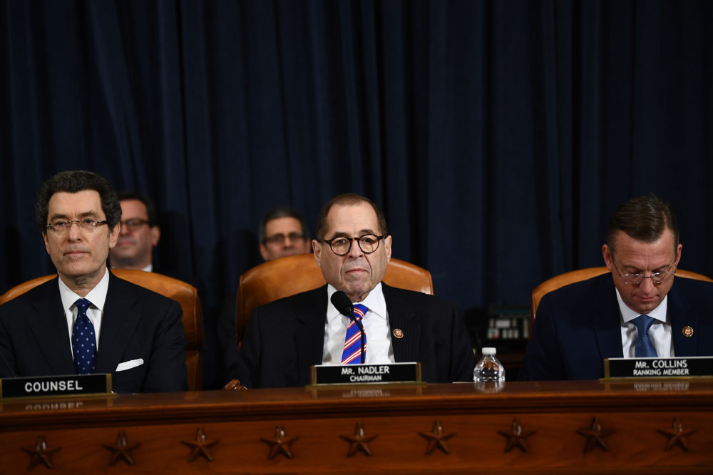 House Judiciary Chairman Jerrold Nadler (center), D-N.Y., speaks during a House Judiciary Committee hearing on the impeachment of President Trump on Capitol Hill in Washington, Dec. 4, 2019. (Brendan Smialowski/AFP via Getty Images)