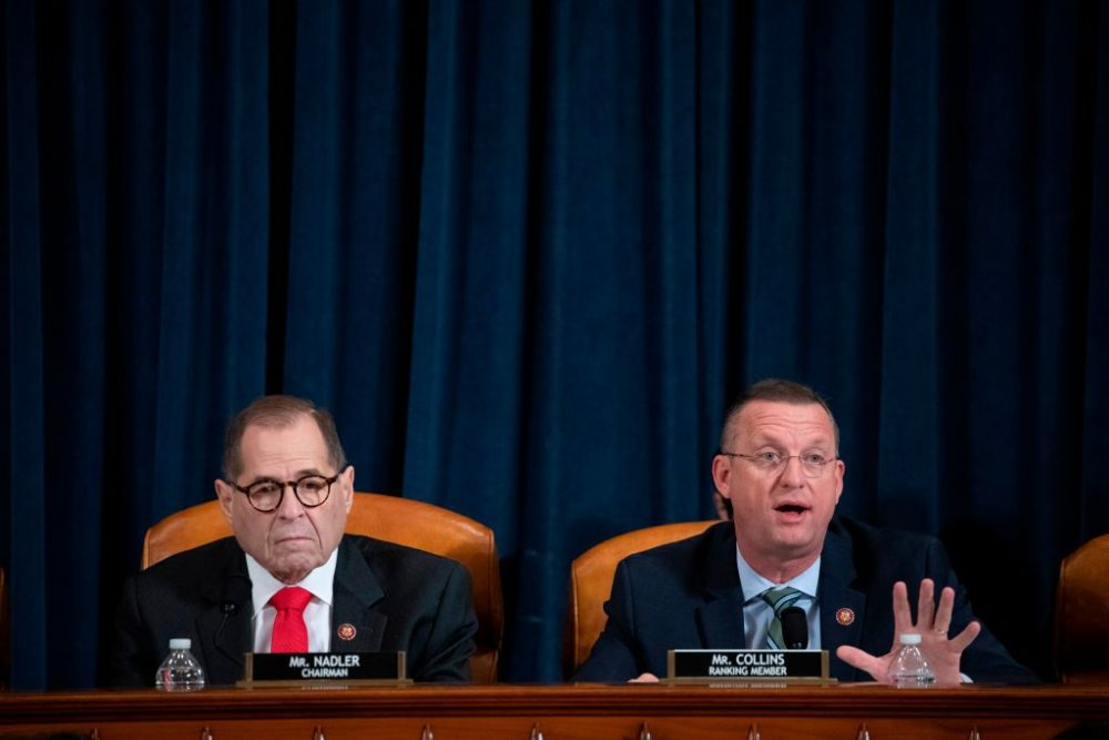 Republican House Judiciary Committee ranking member Doug Collins delivers his opening statement as Chairman Rep. Jerrold Nadler listens at the start of a House Judiciary Committee hearing on the impeachment inquiry into President Trump. (Anna Moneymaker/Pool/AFP via Getty Images)