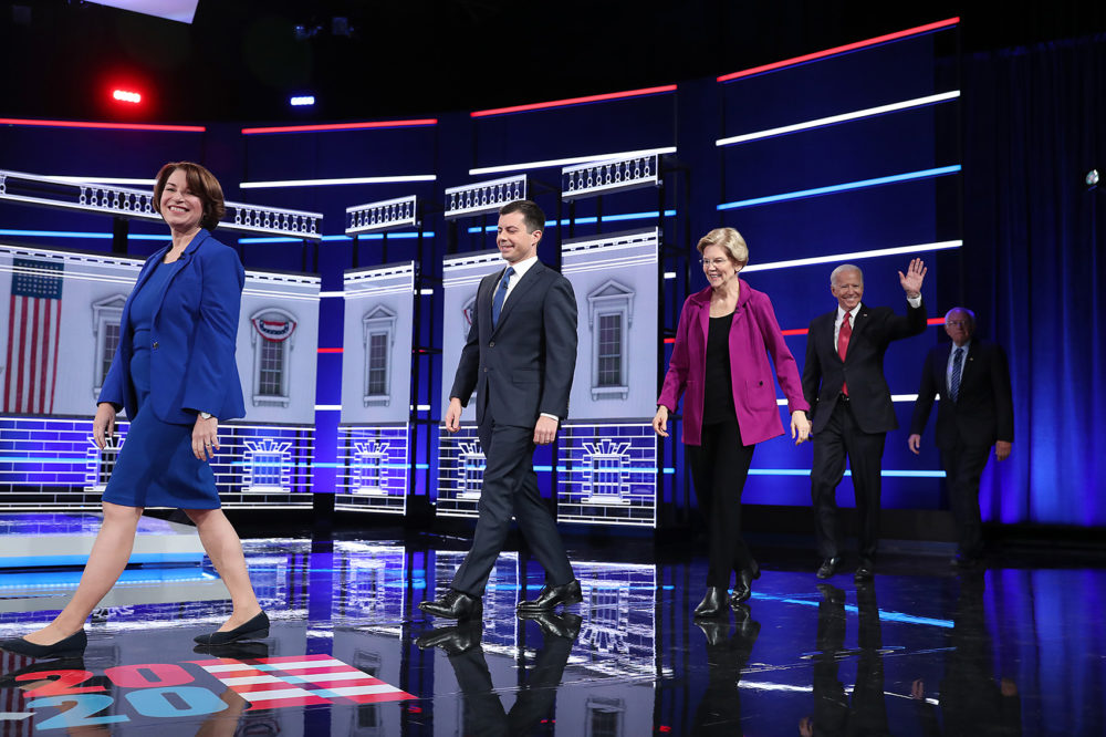Democratic presidential candidates arrive on stage before the start of the Democratic Presidential Debate at Tyler Perry Studios Nov. 20, 2019 in Atlanta, Ga. (Joe Raedle/Getty Images)