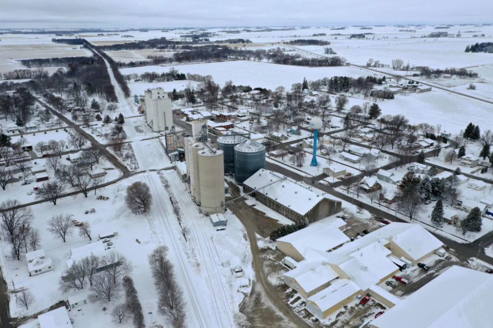 Aerial view snow blanketing town on Nov. 27, 2019 in Rudd, Iowa. (Scott Olson/Getty Images)