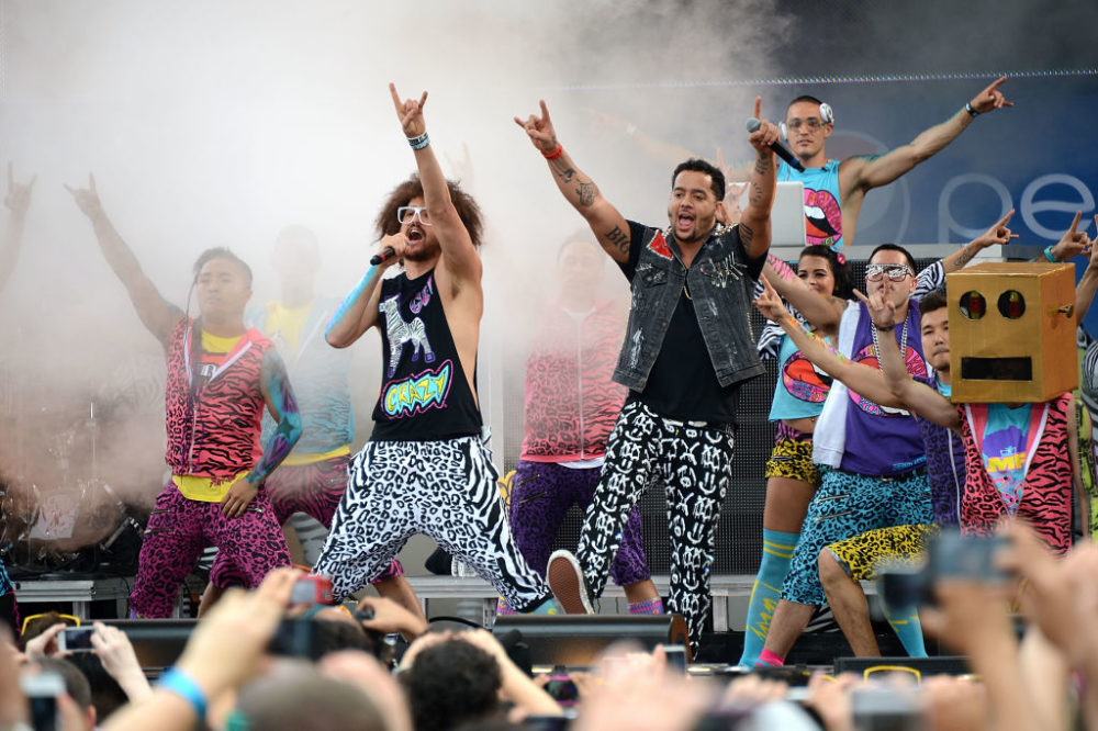 Stefan Gordy (a.k.a. Redfoo) and Skyler Gordy (a.k.a. SkyBlu) of LMFAO perform at Rumsey Playfield in Central Park. (Andrew H. Walker/Getty Images)