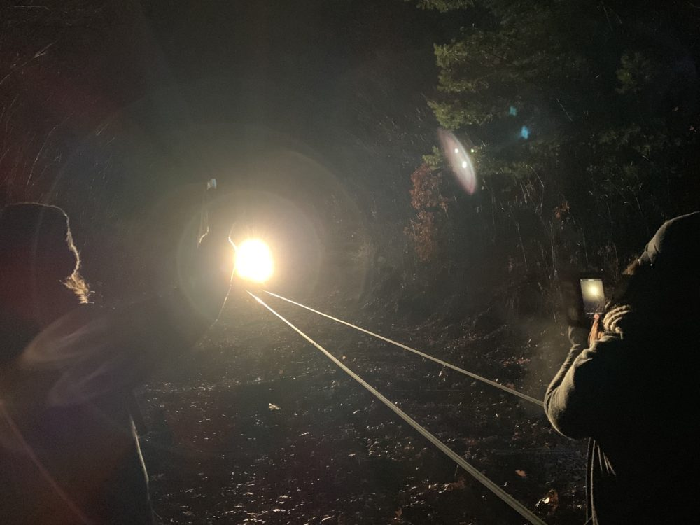 Protesters record as a train carrying coal approaches a stretch of tracks in West Boylston, Mass. (photo courtesy Nastasia Lawton-Sticklor)
