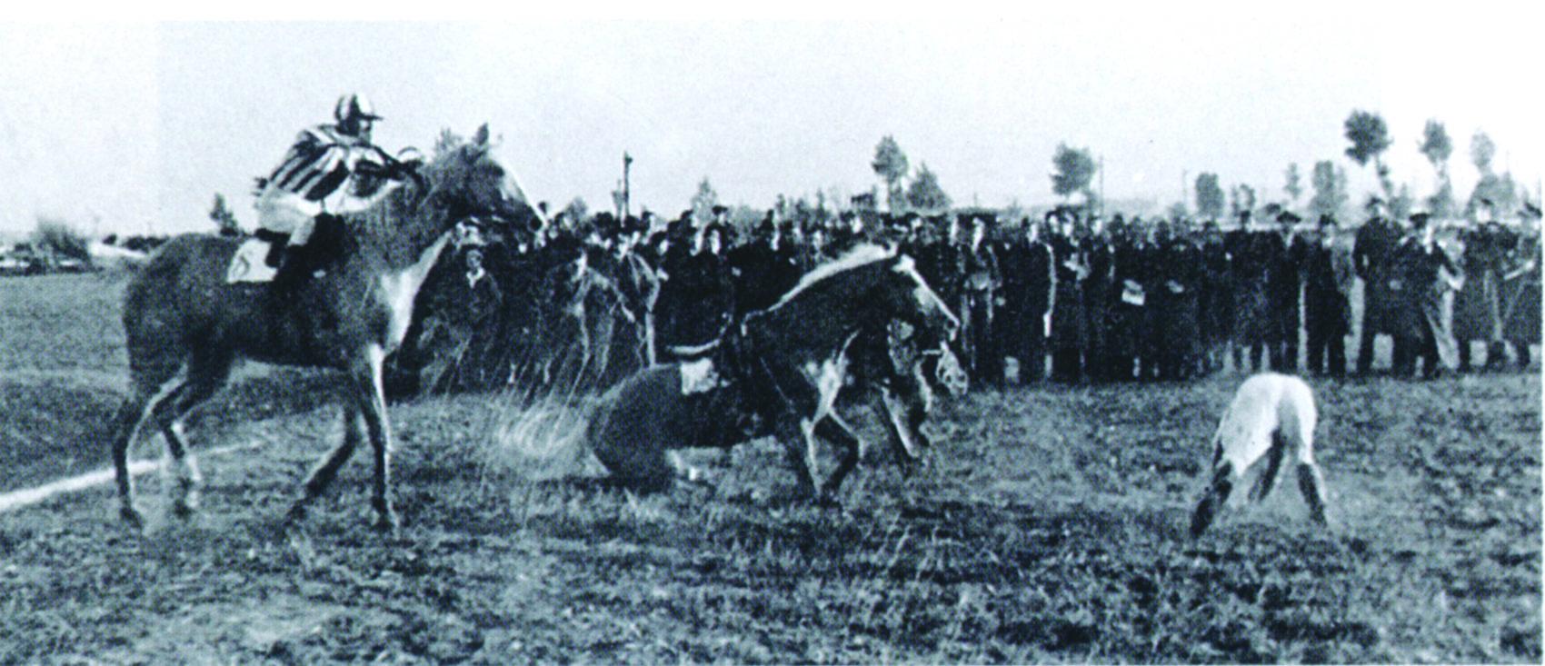 Lata (far left), riding Norma, successfully negotiates a water obstacle in the 1937 Velká Pardubická. (Courtesy ?eska Televise)