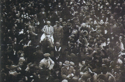 Lata and Norma are led through the Pardubice crowd following their 1937 victory. (Courtesy Pospišil Archive)