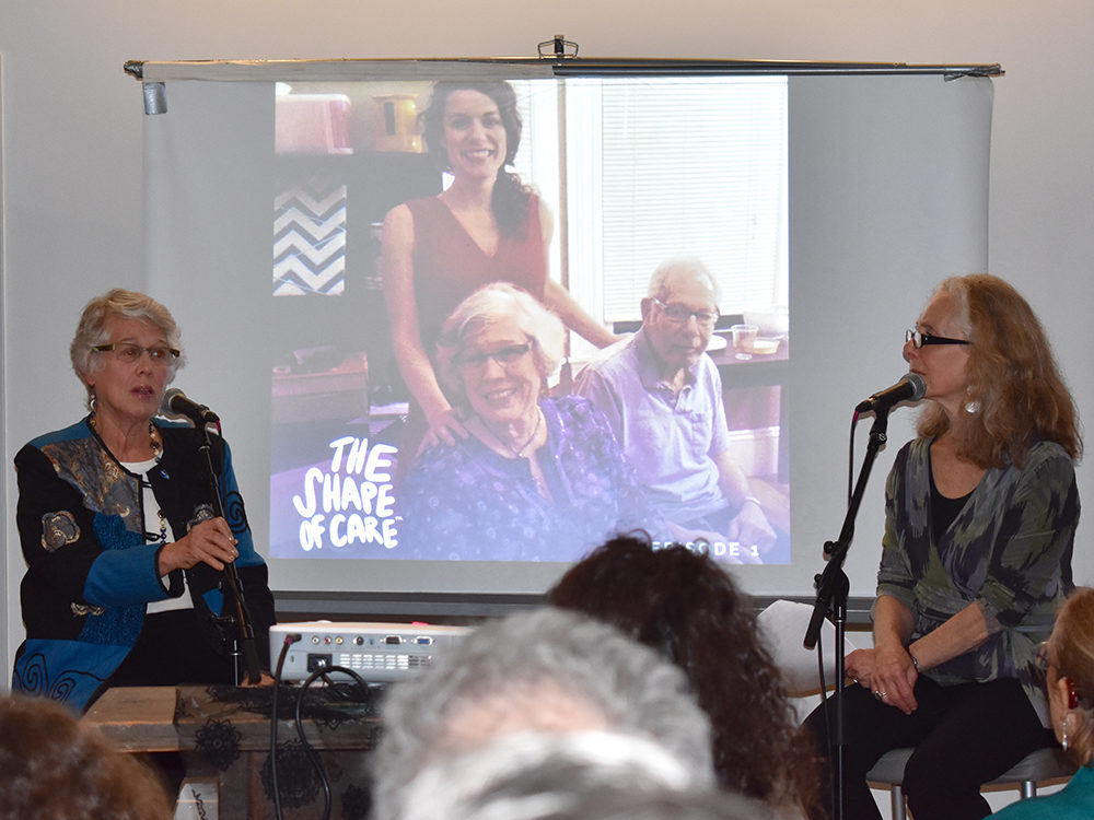 Laurie Sheridan (left) speaks with Mindy Fried, host of The Shape of Care podcast, about caring for her husband Ira, who has Parkinson's disease. (Dalia Llera)