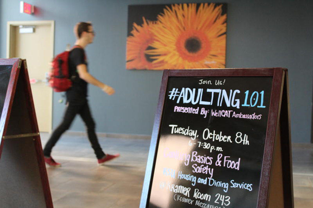 Kansas State University advertises its Adulting 101 workshops. (Stephan Bisaha/Kansas News Service)