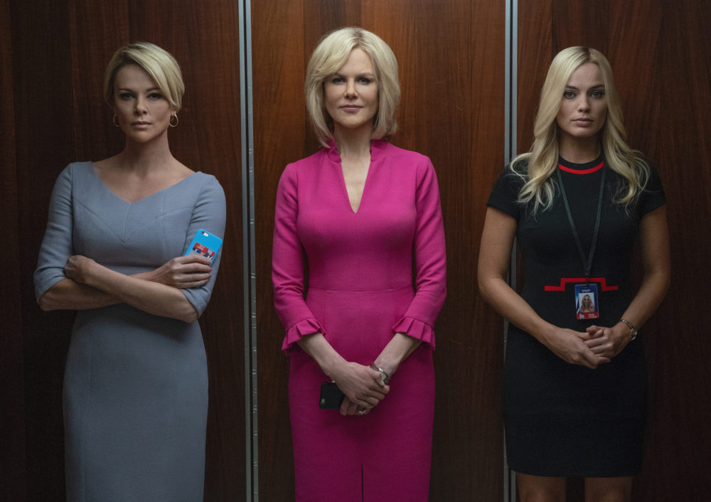 "Left to right, Charlize Theron as Megyn Kelly, Nicole Kidman as Gretchen Carlson and Margot Robbie as Kayla Pospisil in ""Bombshell."" (Courtesy Hilary Bronwyn Gayle/SMPSP)"