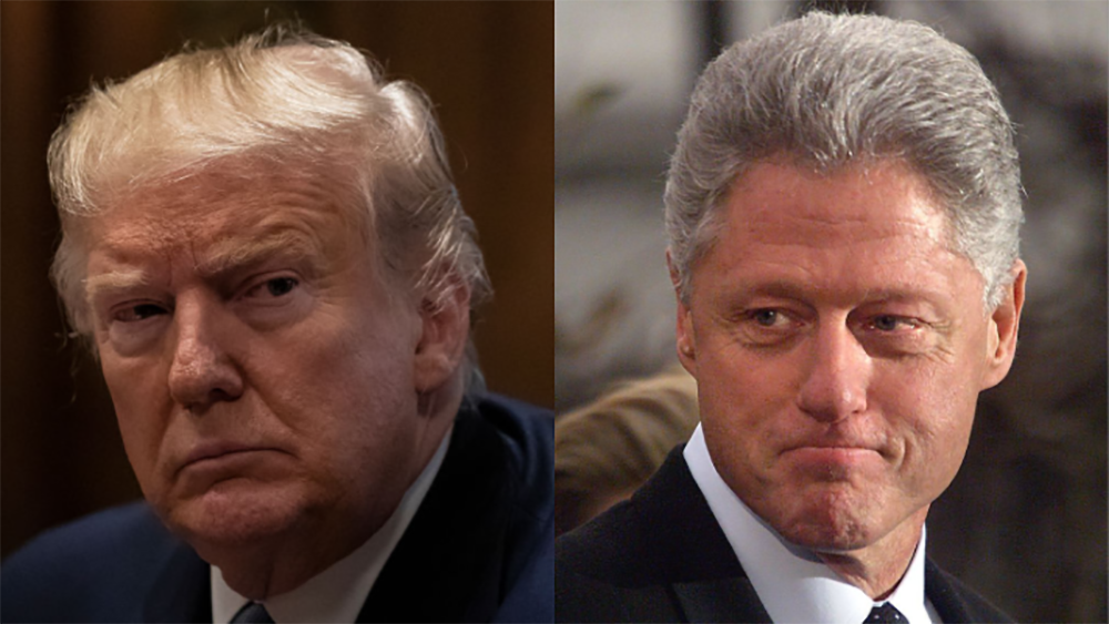 The House eventually impeached President Clinton and lawmakers are expected to do the same when the articles of impeachment against President Trump. (Left: Drew Angerer/Getty Images) (Right: Tim Sloan/AFP/Getty Images)