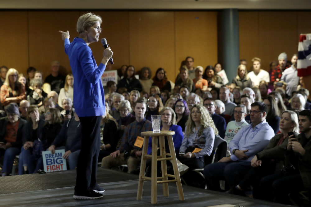 Warren speaks to the audience at her campaign event in Exeter, N.H. (Steven Senne/AP)