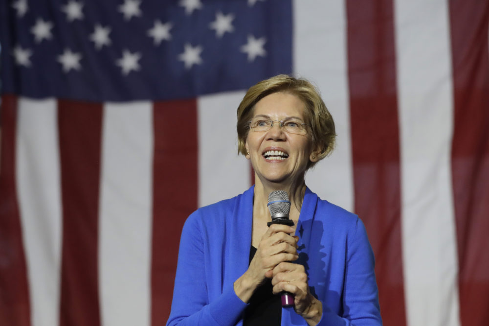 Democratic presidential candidate Sen. Elizabeth Warren, D-Mass., addresses an audience at a campaign event on Nov. 11 in Exeter, N.H. (Steven Senne/AP)