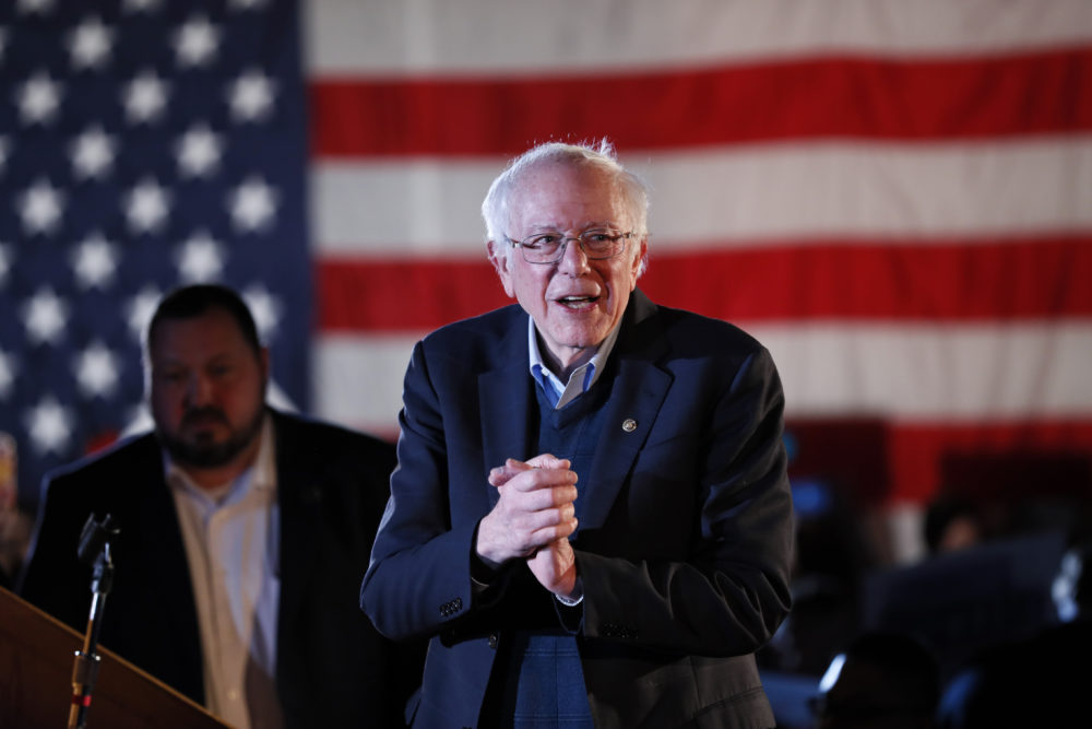 Democratic presidential candidate U.S. Sen. Bernie Sanders, I-Vt., speaks during his Bernie's Big New Year's Bash in Des Moines, Iowa. (Charlie Neibergall/AP)