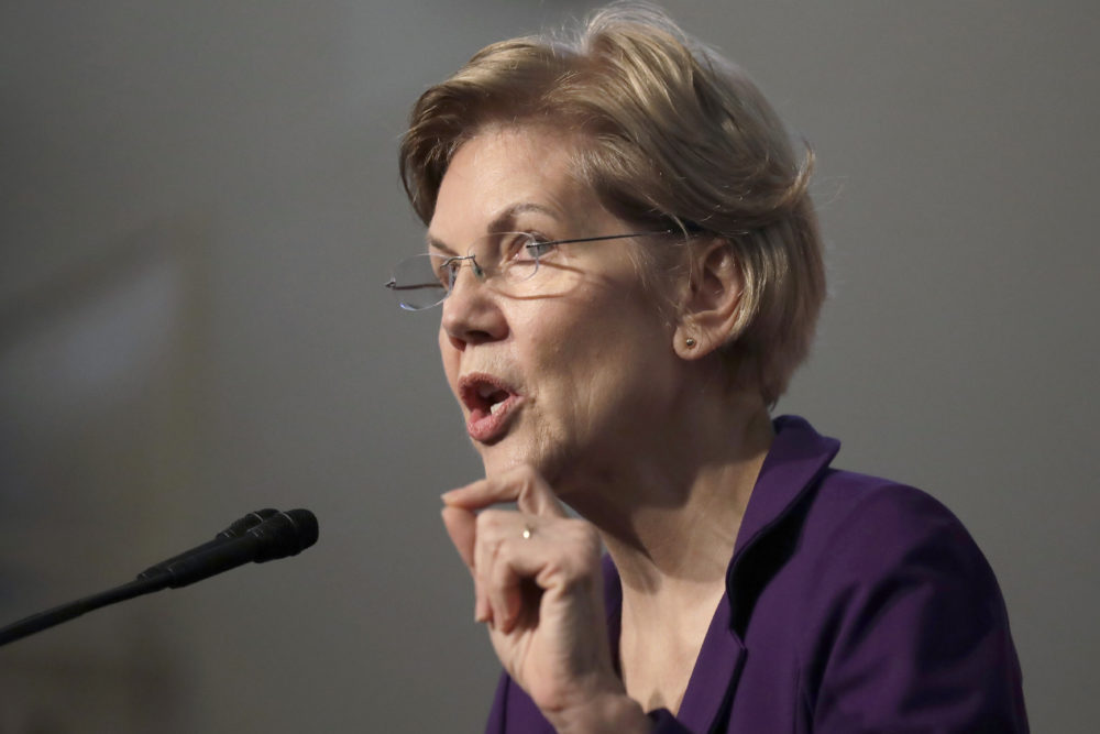 Democratic presidential candidate Sen. Elizabeth Warren, D-Mass., speaks during a campaign event at the Old South Meeting House on Friday in Boston. (Elise Amendola/AP)