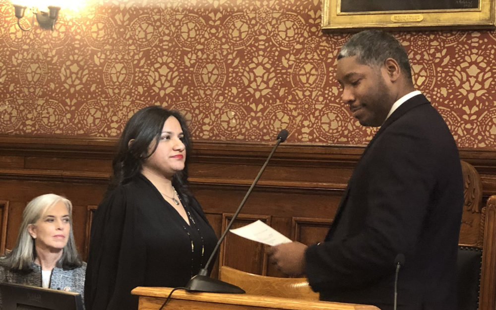 Sumbul Siddiqui is sworn in as Mayor of Cambridge on Jan. 6, 2020. (Courtesy Marjorie Decker via Twitter)