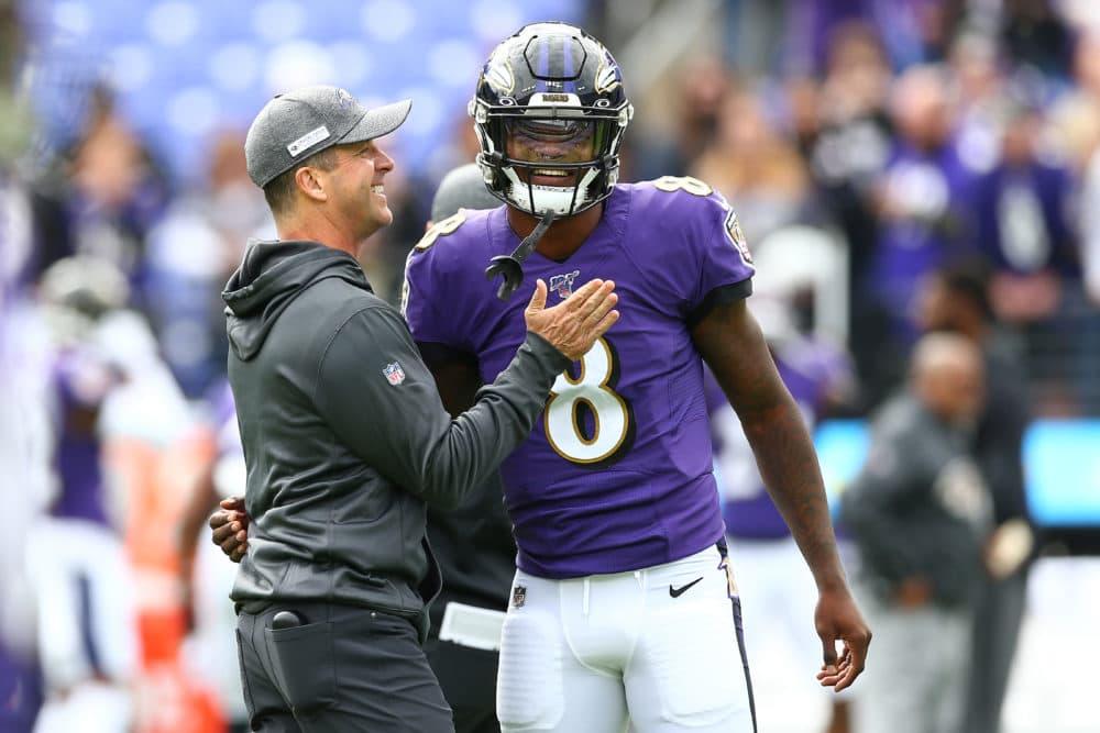 Baltimore Ravens quarterback Lamar Jackson is the favorite to win the NFL MVP award. (Dan Kubus/Getty Images)