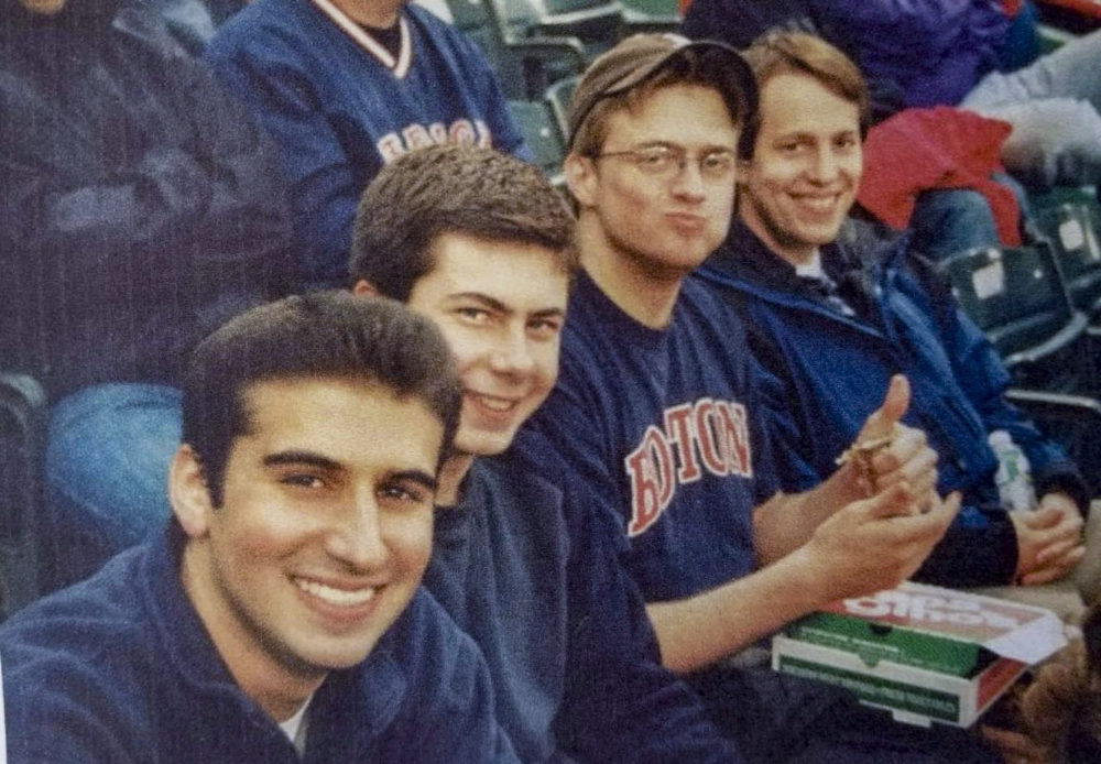 Pete Buttigieg (second from left) at Fenway Park with Harvard friends Ilan Graff (left), Nat Myers (second from right), and Clarke Tucker (right). (Photo courtesy Nate Coulter)