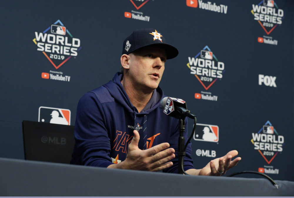 Houston Astros manager AJ Hinch was among those suspended and fired as a result of the sign stealing scandal. (Eric Gay/AP)