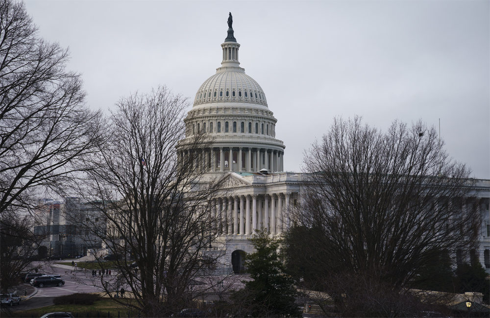 The Capitol is seen before the resumption of the impeachment trial of President Donald Trump on charges of abuse of power and obstruction of Congress, in Washington, Friday, Jan. 24, 2020. (J. Scott Applewhite/AP)