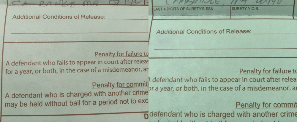 The Massachusetts Trial Court has changed bail forms to include fields for the last four-digits of the surety's social security number and their year of birth. The form on the left is from December 2019, and the one on the right is from January 2020. (photos courtesy the Massachusetts Bail Fund)