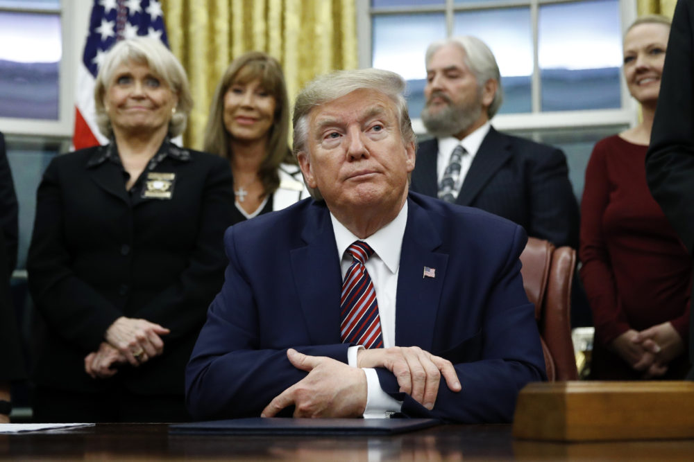 President Trump in the Oval Office of the White House. (Patrick Semansky/AP)