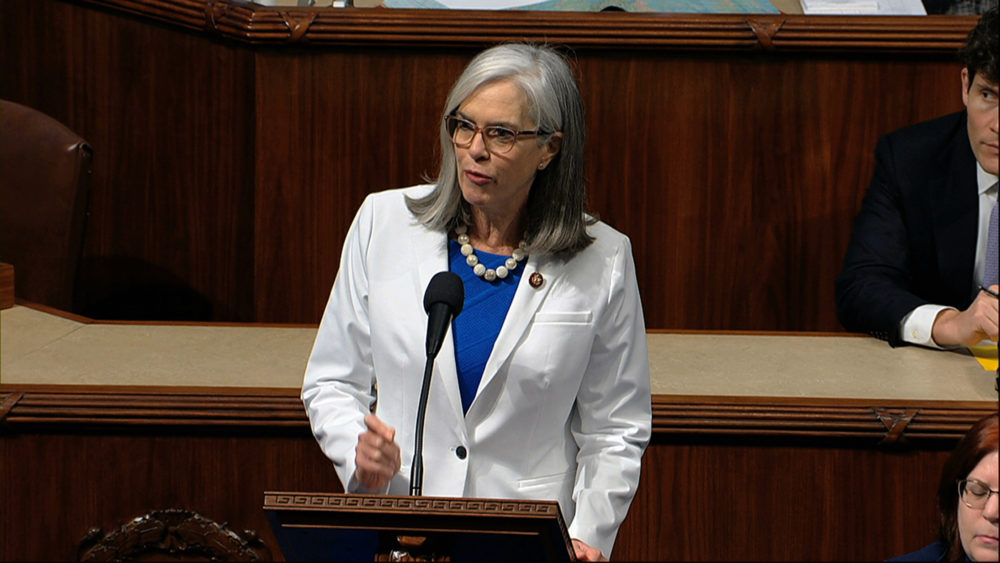 Rep. Katherine Clark, D-Mass., speaks as the House of Representatives debates the articles of impeachment against President Donald Trump at the Capitol in Washington, Dec. 18, 2019. (House Television via AP)