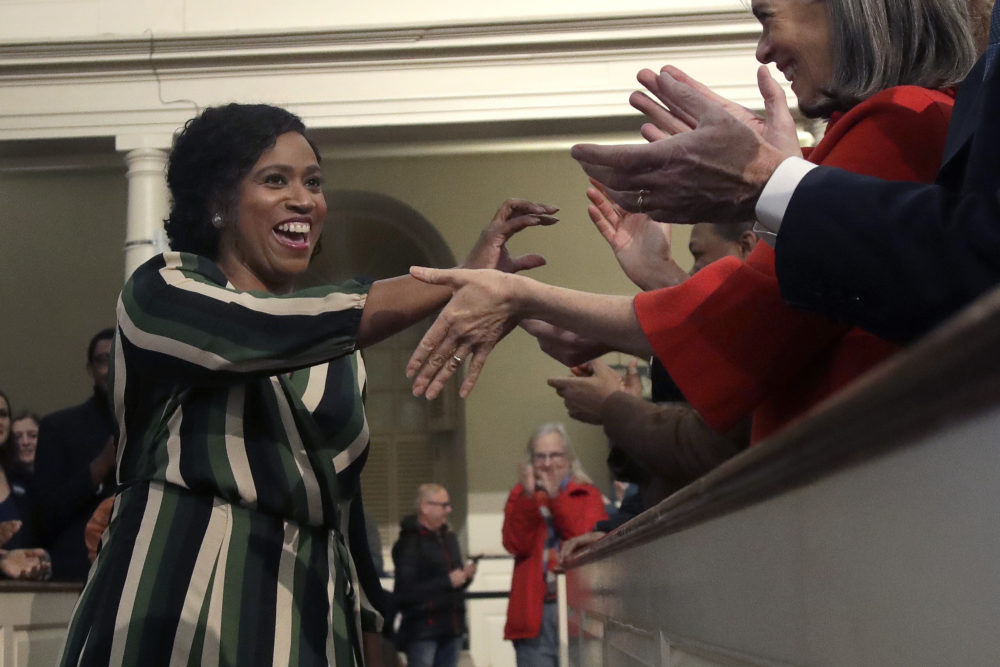 In this Dec. 31, 2019 photo, Rep. Ayanna Pressley, D-Mass., arrives for a campaign event where she introduced Democratic presidential candidate Sen. Elizabeth Warren, D-Mass., at the Old South Meeting House in Boston. (Elise Amendola/AP)