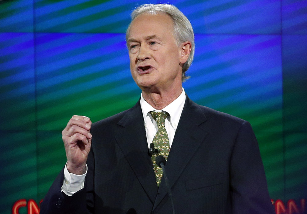 Former Rhode Island Gov. Lincoln Chafee speaks during a Democratic presidential debate in Las Vegas in 2015. Chafee filed to run for president as a Libertarian in 2020. (John Locher/AP File Photo)