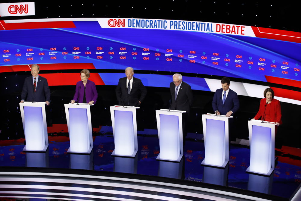 Democratic presidential primary debate hosted by CNN and the Des Moines Register in Des Moines, Iowa. (Patrick Semansky/AP)