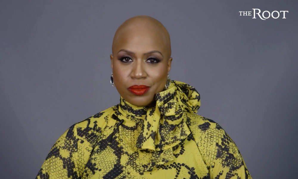 This image from video released courtesy of The Root and G/O Media shows Rep. Ayanna Pressley in a video posted Thursday, Jan. 16, 2020, announcing that she has gone bald due to alopecia.(Courtesy of The Root and G/O Media via AP)