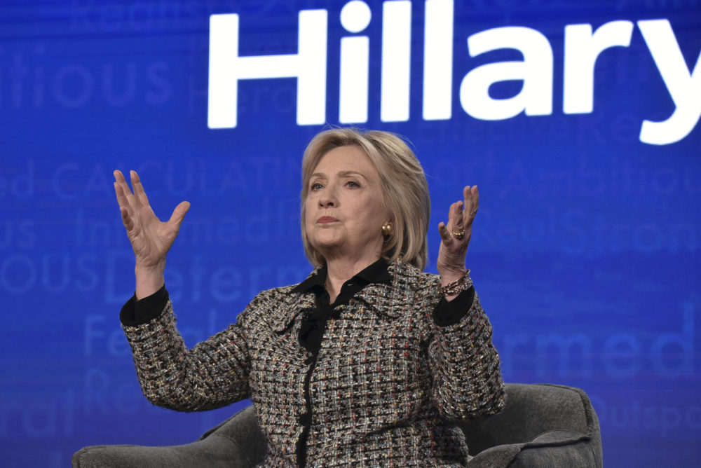"""Hillary Clinton participates in the Hulu """"Hillary"""" panel during the Winter 2020 Television Critics Association Press Tour, on Jan. 17, 2020, in Pasadena, Calif. (Richard Shotwell/Invision/AP)"""