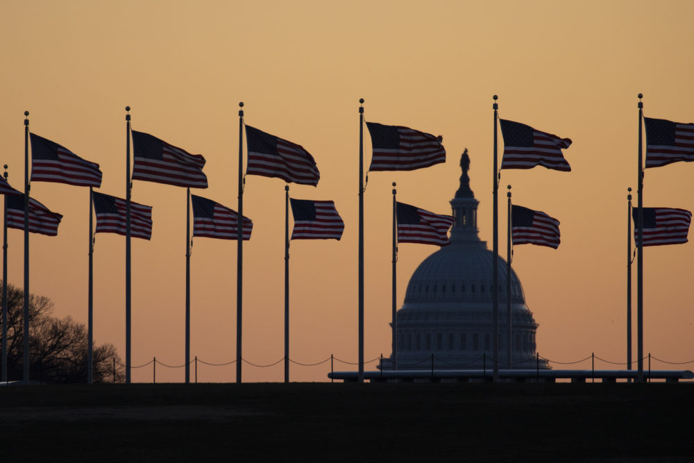 American flags blow in wind around the Washington Monument with the U.S. Capitol in the background at sunrise on Monday, Jan. 20, 2020, in Washington. The impeachment trial of President Donald Trump will resume in the U.S. Senate on Jan. 21.  (Jon Elswick/AP)