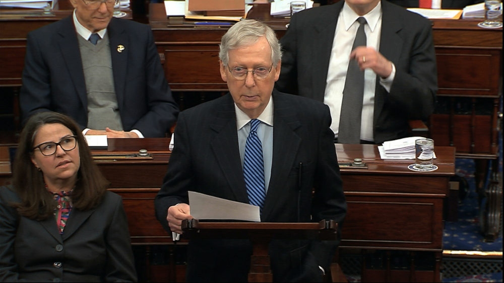In this image from video, Senate Majority Leader Mitch McConnell, R-Ky., speaks during the impeachment trial against President Donald Trump in the Senate at the U.S. Capitol in Washington, Wednesday, Jan. 22, 2020. (Senate Television via AP)