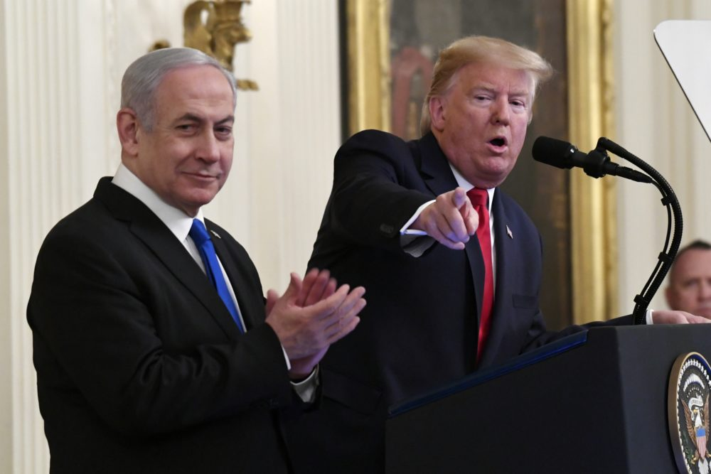 President Donald Trump speaks during an event with Israeli Prime Minister Benjamin Netanyahu in the East Room of the White House in Washington, Tuesday, Jan. 28, 2020. (Susan Walsh/AP)