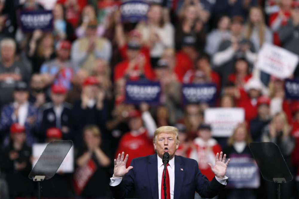 President Donald Trump speaks during a campaign rally at Drake University in Des Moines, Iowa, Jan. 30. Saturday's rally, in Tulsa, Okla., will be his first since the coronavirus pandemic halted in-person campaigning. (Charlie Neibergall/AP)