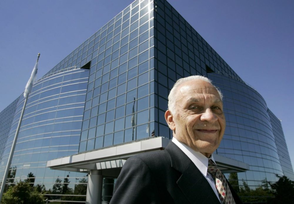Amar Bose, the founder of Bose Corp. who died in 2013, in front of the company's Framingham HQ in 2007. (Steven Senne/AP)