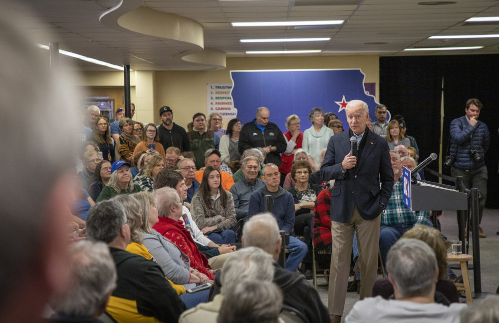 Former Vice President Joe Biden campaigns for president at Tilford Elementary School in Vinton, Iowa on Jan. 4, 2020. (Clay Masters/Iowa Public Radio)