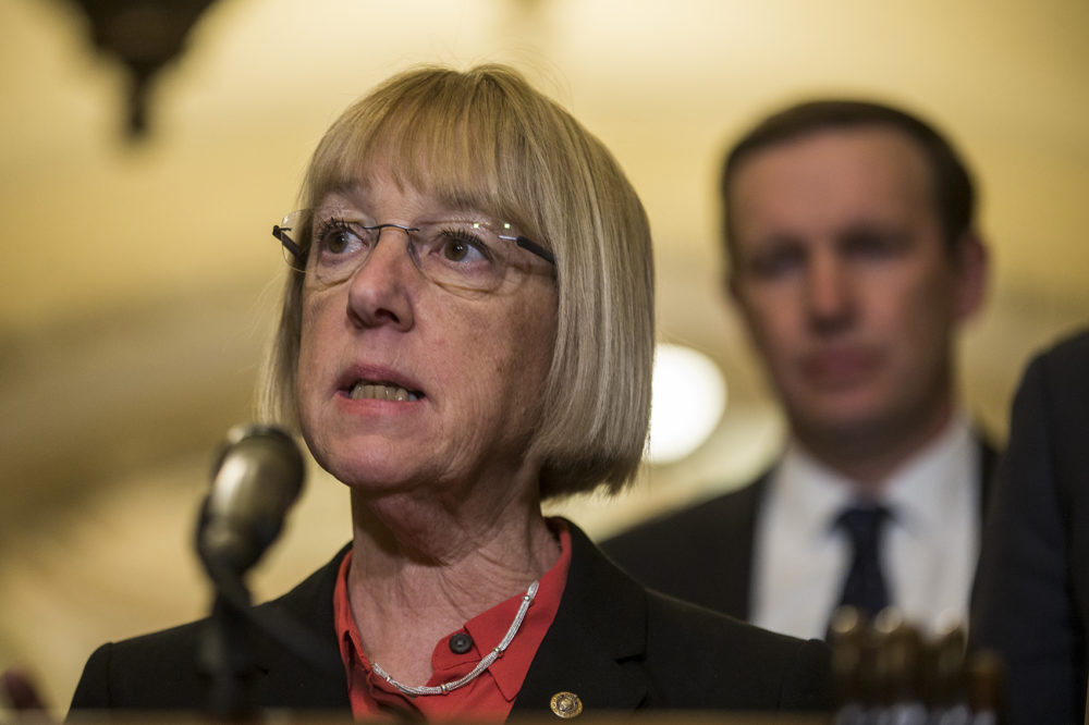 Sen. Patty Murray (D-Wash.) speaks during a news conference following a weekly policy luncheon on April 2, 2019. (Zach Gibson/Getty Images)