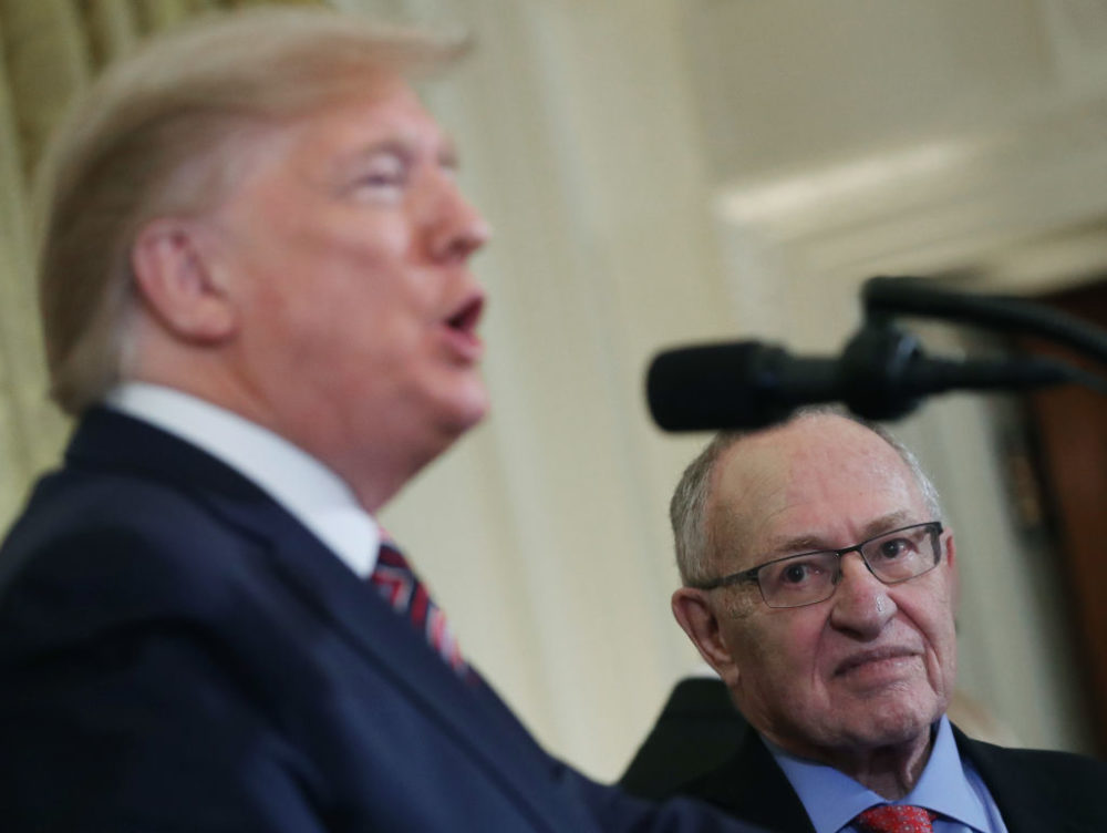 Alan Dershowitz listens to President Trump speak during a Hanukkah reception at the White House on December 11, 2019. (Mark Wilson/Getty Images)