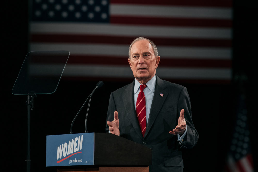 2020 Democratic presidential candidate Mike Bloomberg speaks at a rally in New York City. (Scott Heins/Getty Images)