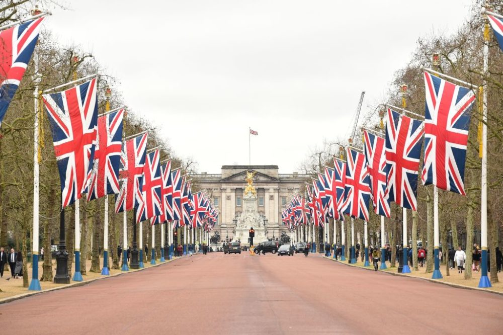 Union flags line the Mall leading to Buckingham Palace in central London on January 31, 2020 on the day that the UK formally leaves the European Union.(Glyn Kirk/AFP/Getty Images)