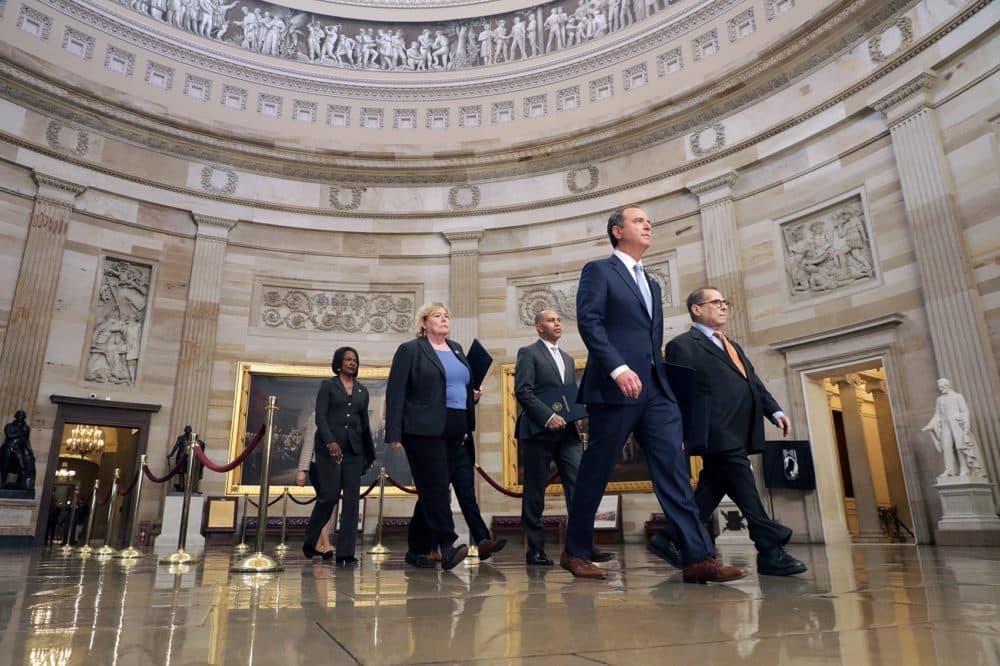 Rep. Adam Schiff (D-CA), Rep. Jerrold Nadler (D-NY), Rep. Zoe Lofgren (D-CA), Rep. Hakeem Jeffries (D-NY), Rep. Val Demings (D-FL), Rep. Jason Crow (D-CO) and Rep. Sylvia Garcia (D-TX) walk through the Rotunda of the U.S. Capitol on their way to the U.S. Senate January 16, 2020 in Washington, DC. (Chip Somodevilla/Getty Images)