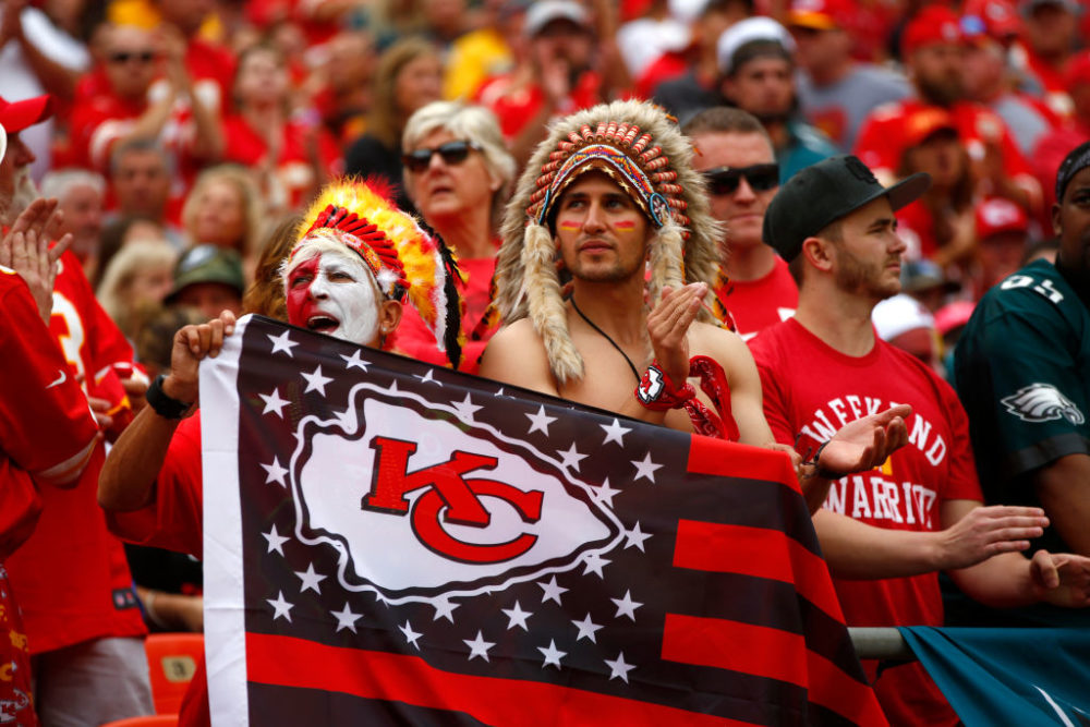 "Native American communities and allies are speaking out against the NFL's decision to allow Kansas City Chiefs fans to attend the Super Bowl wearing mock headdresses, face paint and performing the so-called ""tomahawk chop"" chant. (Jamie Squire/Getty Images)"