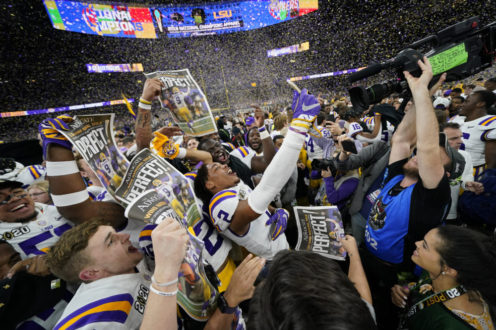 LSU celebrates after their win against Clemson in the NCAA College Football Playoff national championship game on Monday in New Orleans. (David J. Phillip/AP)